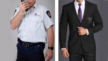 Old and the new: Security guards at RPA, Canterbury, Concord and Balmain and Sydney Dental hospitals do not want to wear suits on the job.