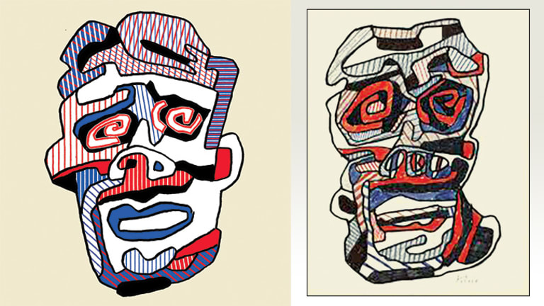 Brutish: David Warner (left), as inspired by painter Jean Dubuffet.