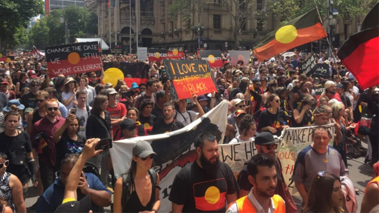 Protesters making their way through the CBD.