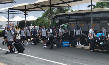 New Zealand Warriors players arrive at Gold Coast Airport as they prepare to fly home.