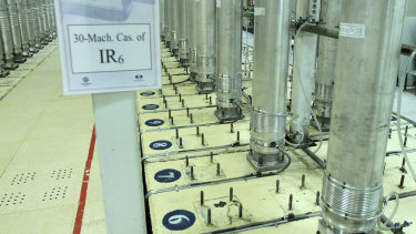 Centrifuge machines in the Natanz uranium enrichment facility in central Iran in 2019.