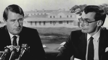 Then NSW premier Neville Wran with Bob Carr, his planning and environment minister and future premier.