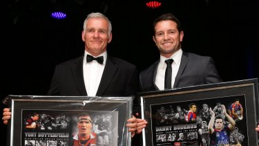 Tony Butterfield and Danny Buderus at their induction into the Knights hall of fame in 2014.