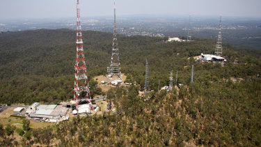 Television transmission towers at Brisbane's Mt Coot-tha.