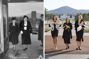 Labor MPs Anika Wells, Kate Thwaites and Alicia Payne return to Parliament from maternity leave in March 2021, paying homage to a 1943 photo of Dorothy Tangney and Dame Enid Lyons entering the front door of Old Parliament House.