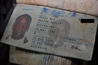 Shire Ali's passport was found inside his burnt ute.