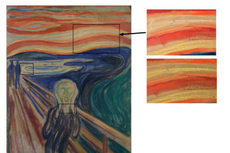 Clockwise from left: the rectangles show colour degradation; as the colours are today; and how the original may have looked.