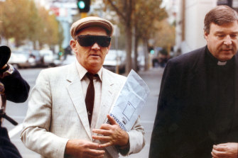 Notorious paedophile Gerald Ridsdale (left)  outside court in 1993.