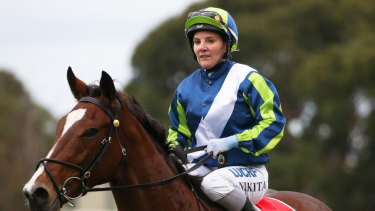 Jockey Nikita Beriman return to the scale after riding Bam's On Fire to victory in race 7 at Caulfield on Saturday.