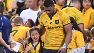 Abused: Wallabies player Lukhan Tui following an altercation with a fan in the stands.