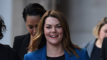 Sarah Hanson-Young outside the Federal Court on Monday.