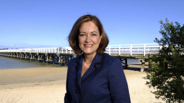Liberal MP Sarah Henderson in her electorate in March this year.