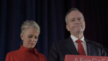 Bitter pill: Accompanied by his wife Chloe, Bill Shorten concedes defeat in Melbourne on election night.
