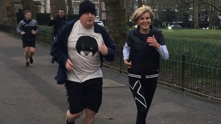 Julie Bishop and Boris Johnson enjoy a brisk jog around London.