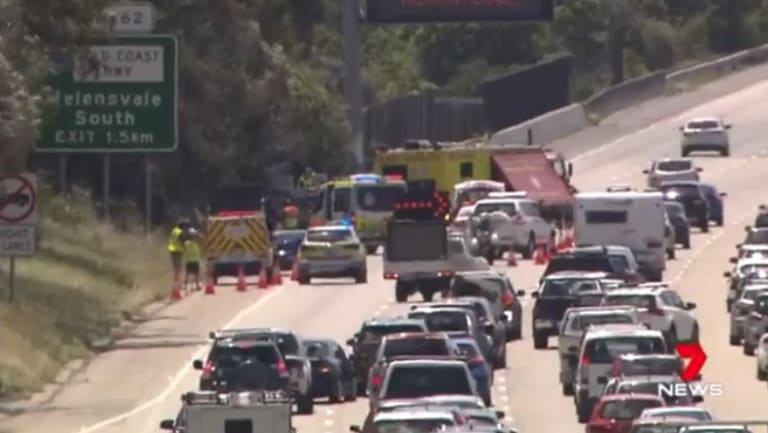 A 25-year-old man was killed on the M1 through Helensvale on Sunday after his broken-down ute was hit.
