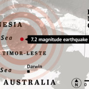 The earthquake was felt in Darwin about 12.30pm local time.