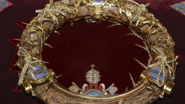 The crown of thorns which was believed to have been worn by Jesus Christ and which was bought by King Louis IX in 1239 is presented at Notre Dame Cathedral in Paris.