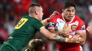 Jason Taumalolo, captain of Tonga, looks for a gap against the Kangaroos.