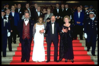 Director Mike Leigh (second right) and The Secret & Lies team on the red carpet at the Cannes Film Festival. Brenda Blethyn on the right.