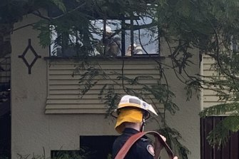 Crews entered the burnt-out home to do further dampening once the blaze was under control.