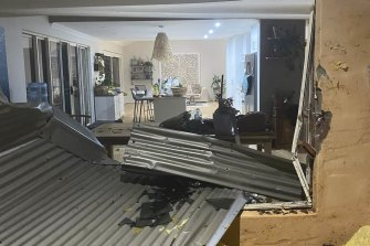 Ella Curic had just finished dinner when her neighbour's roof came through their window in Kalbarri.