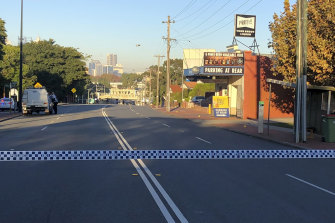 The crime scene on Guildford Road the morning after the home invasion.