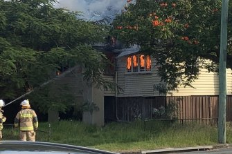 Fire crews were called to the house on Nudgee Road at Hamilton about 1.45pm on Sunday.