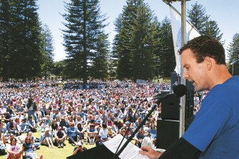 Paul Gamblin speaks at a Save Ningaloo rally in Fremantle in 2002, which 15,000 West Australians attended.