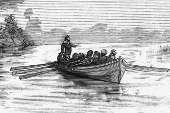 A depiction of John Batman making his way up the Yarra River in 1835.