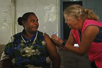 (File Image) Norah Tabuai receives her second AstraZeneca COVID-19 vaccination on Saibai Island in the Torres Strait in June.