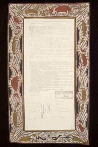 The Yirrkala Bark Petition, presented in 1963.