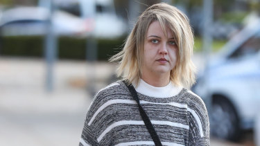 Amber Holt arrives at court on Monday.