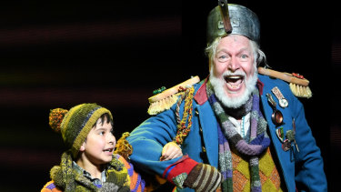Charlie and Grandpa Joe in Charlie and the Chocolate Factory, the musical.