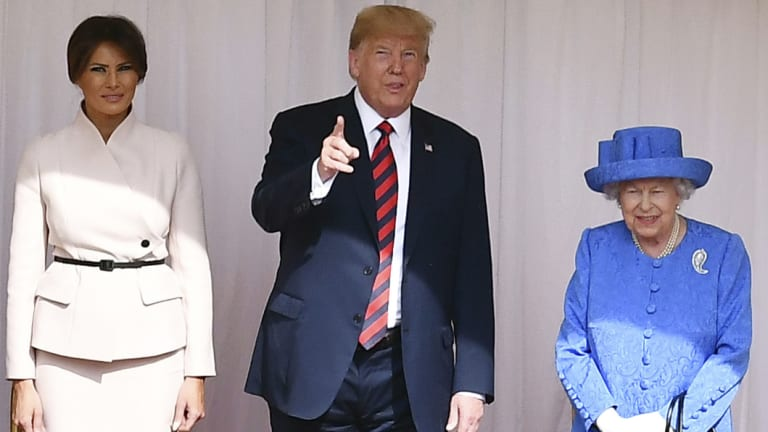 Britain's Queen Elizabeth II met briefly with Donald and Melania Trump.