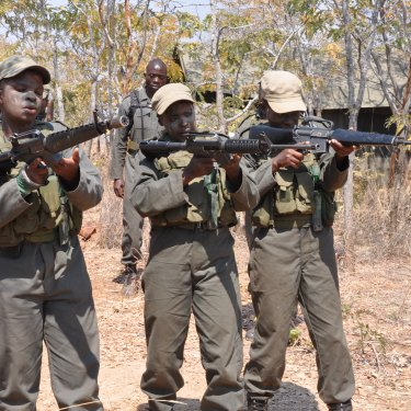 Damien Mander trains wildlife rangers in military tactics in Zimbabwe.