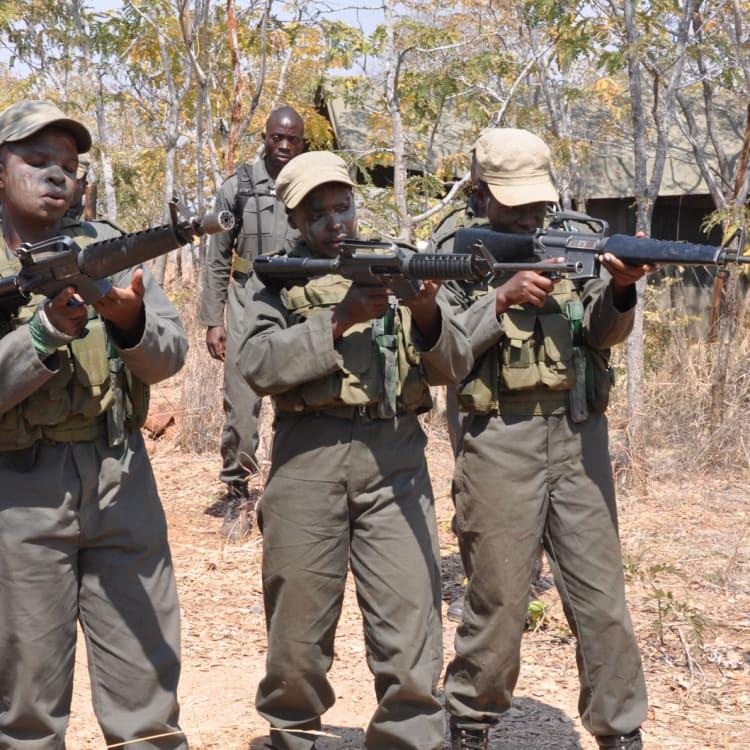 Damien Mander trains wildlife rangers in military tactics in Zimbabwe.