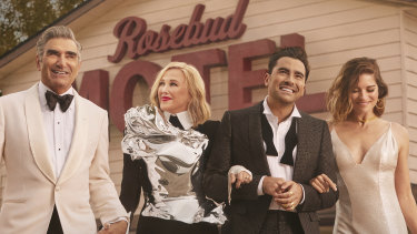 Everyone is a winner in Schitt's Creek: actors Eugene Levy, Catherine O'Hara, Dan Levy and Annie Murphy.
