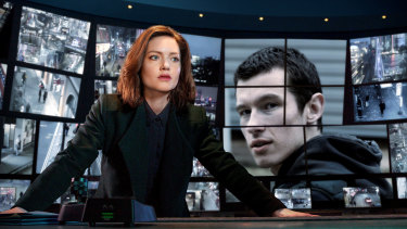 Holliday Grainger stars as Detective Inspector Rachel Carey in British espionage-crime thriller The Capture. Callum Turner is accused murderer Shaun Emery.