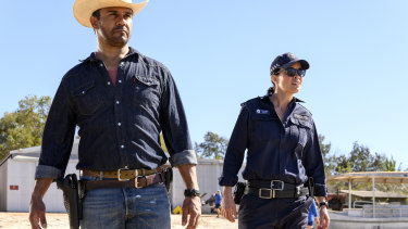 Aaron Pedersen as outback detective Jay Swan and Jada Alberts in Mystery Road.