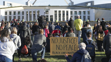A Black Lives Matter protest at the front of Parliament House in Canberra on Saturday.