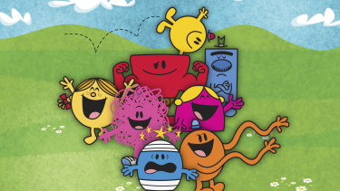 Roger Hargreaves' Mr Men  and Little Miss characters, including Mr Grumpy (top right).