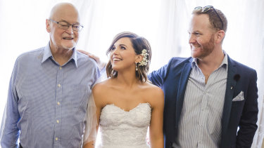 Tony Leighton (left) with son Terry and daughter April at her wedding just before he passed.