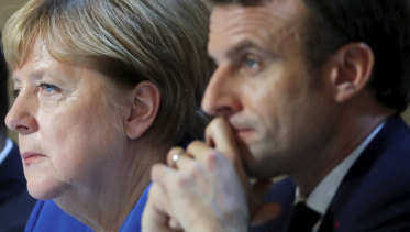 Staring into the abyss: German Chancellor Angela Merkel and French President Emmanuel Macron.