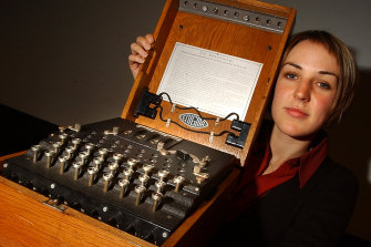 An Enigma code machine on display in 2013.