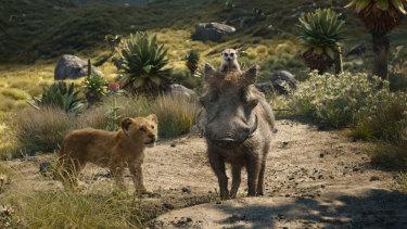 Young Simba with Timon and Pumbaa.