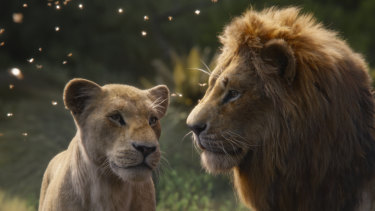 Nala, voiced by Beyoncé Knowles-Carter, and Simba, voiced by Donald Glover.