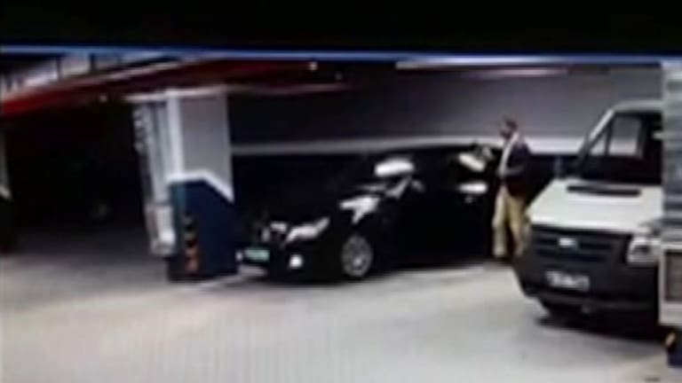 CCTV footage shows a man getting out of a vehicle seemingly with Saudi consulate plates, at an underground carpark in Istanbul.