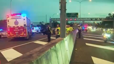 Emergency services respond to the crash at Wacol.