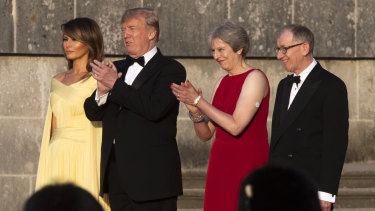 Theresa May was spotted wearing a diabetes patch when she met Donald Trump for a black-tie dinner in London.