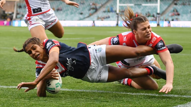 Unstoppable: Taleena Simon pounces once again for the Roosters at Allianz Stadium.